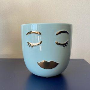 """4"""" Teal Face Pot/Cup/Makeup Brush Holder"""